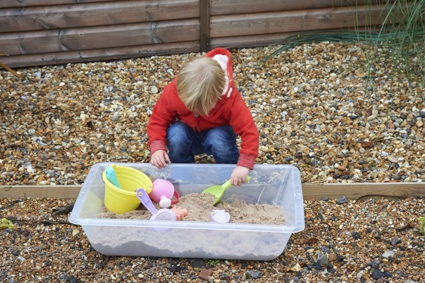 Clear Sand & Water Tray in action